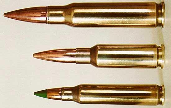 7.62х51 НАТО, 6.5x38 Grendel, 5.56х45 НАТО (сверху-вниз)