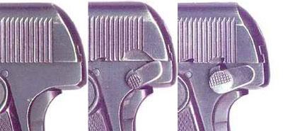 вид на заднюю часть рамки FN Browning M 1906 разных моделей без и с флажковым предохранителем