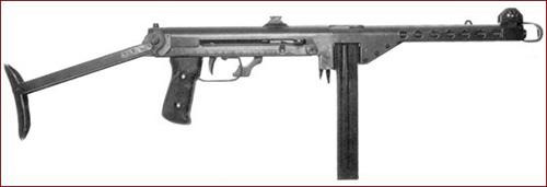 Финский пистолет-пулемёт m/44 с 50-патронным шведским магазином. В 1939-40 гг. производство таких магазинов по лицензии было начато в Финляндии