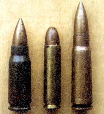 Родоначальники автоматных патронов 7,92x33 Курц (Германия), .30 Carbine (7,62x33) (США), 7,62x39 обр. 43 г. (СССР)