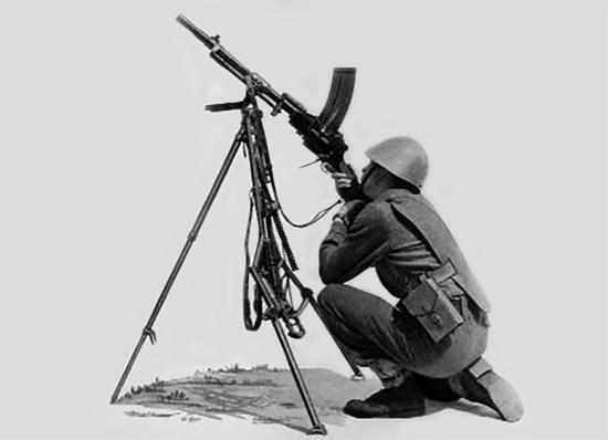 Ручной пулемет Madsen модели 1950 года на универсальном станке, в <a href='https://arsenal-info.ru/b/book/3477006240/5' target='_self'>положении для стрельбы</a> по воздушным целям