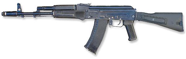 АК-74М. Приклад, цевье, ствольная накладка и магазин изготовлены из стеклонаполненного полиамида