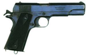 .45 (11,43-мм) пистолет Кольт «Правительственная модель» М 1911 со взведенным курком