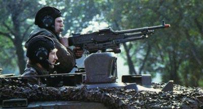 Голландский единый пулемет FN MAG в варианте зенитного пулемета, смонтированный на танке Леопард-2