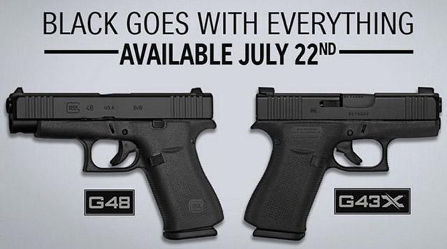 Glock G43X и Glock G48 с затвором с чёрным покрытием nDLC