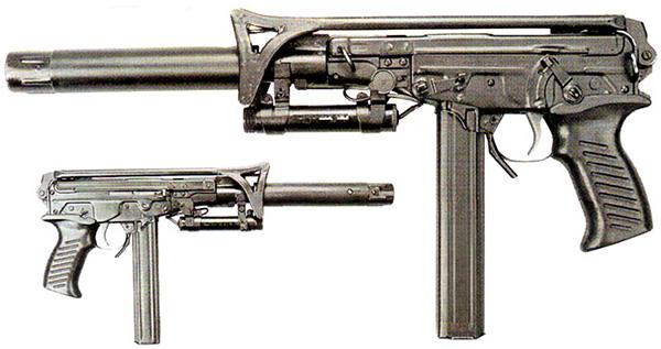 Общий вид пистолета-пулемета «Кипарис» со сложенным прикладом, подствольным ЛЦУ, и глушителем
