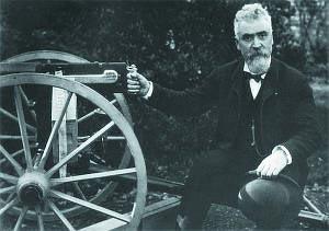 Хайрем Максим со своим станковым пулеметом модели 1887 года