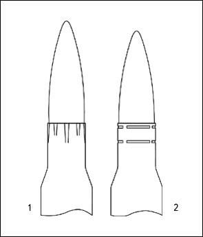 Схема крепления пули в патронах, производившихся Подольским (1) и Тульским (2) патронными заводами