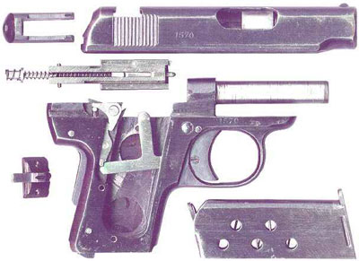 неполная разборка Melior New Model калибра 6.35 мм (образца 1927 года)