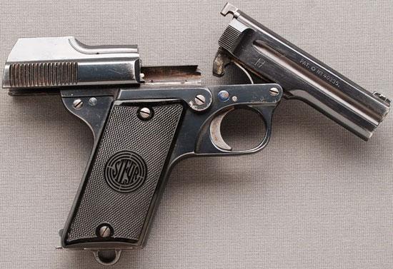 Steyr-Pieper M1908/34 затвор в заднем положении, ствол откинут