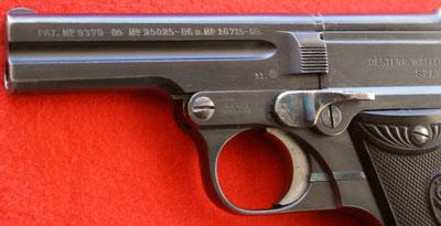 Steyr-Pieper M1908 вид на ствол и фиксатор ствола