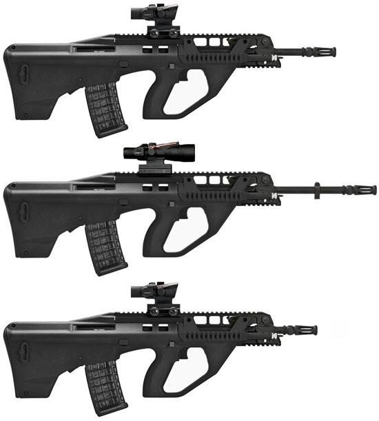 Сверху - вниз: F90, F90M, F90CQB