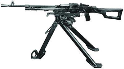 7,62-мм единый пулемет Никитина-Соколова. Опытная модель 1958 г. на станке-треноге Саможенкова