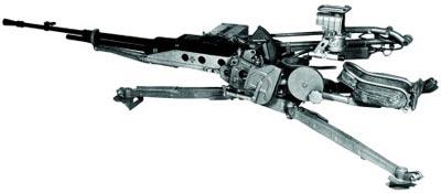 12,7-мм крупнокалиберный пулемет НСВ-12,7 «Утес» на зенитном станке-треноге 6У6 (в положении для стрельбы лежа)
