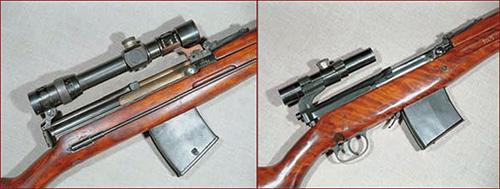 Для винтовки были разработаны несколько типов крепления оптического прицела. Слева опытная винтовка Токарева 1936 года с оптическим прицелом. Справа серийная СВТ-40 в снайперском исполнении