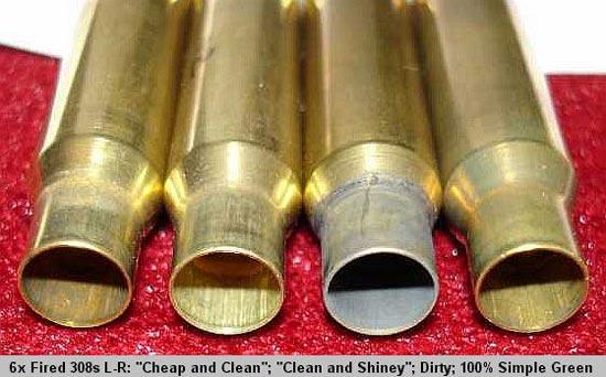 Шестикратно отстрелянные гильзы калибра .308, слева направо: «Дёшево и Чисто», «Чисто Аж Блестит»
