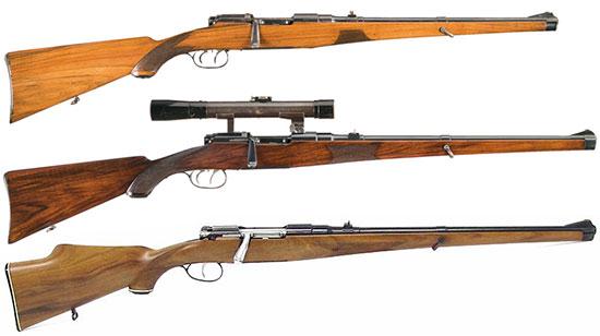 Гражданские карабины Mannlicher-Schoenauer M1903, M1908, M1956 (сверху - вниз)