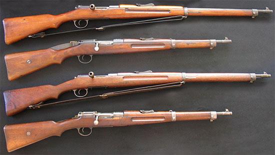 Сверху - винтовка и карабин Mannlicher-Schoenauer M1903, снизу - винтовка и карабин Mannlicher-Schoenauer M1903/14