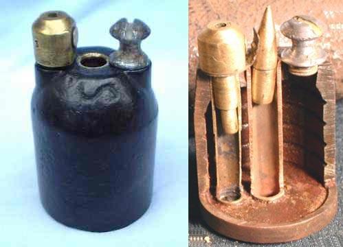 граната Viven-Bessiere (На разрезе гранаты видна трубка, в которой для наглядности показана пуля патрона 8 мм Лебель)