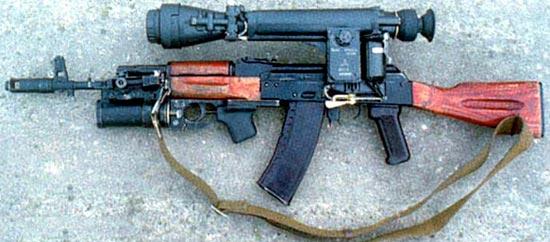 АК-74Н с установленным ночным прицелом и подствольным гранатометом