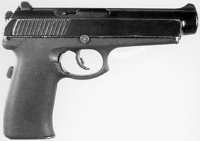 Прототип пистолетов СР-1 и СПС – 9-мм пистолет «Грач» 6П35 конструкции Сердюкова П. И. под патрон РГ 052 (9х21) (ЦНИИТОЧМАШ). Вид справа. Принцип работы автоматики – отдача затвора при коротком ходе ствола
