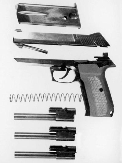 Неполная разборка 7,62/9-мм пистолета «Грач-1» со сменными стволами