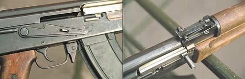 Рукоятка взведения затвора АК-47 рассположена с правой стороны. По воспоминаниям самого М.Т. Калашникова, в АК-46 он разместил рукоятку с левой стороны для того, чтобы осуществлять перезаряжание свободной левой рукой, не снимая правую с пистолетной рукоятки. Спусковая скоба, спусковой крючок, защелка магазина, переводчик-предохранитель претерпели в дальнейшем лишь технологические изменения, сделавшие эти детали дешевле в производстве и удобнее в пользовании