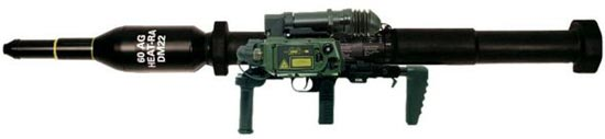 Panzerfaust 3-T600 в боевом положении, с компьютеризированным прицельным комплексом Dynarange