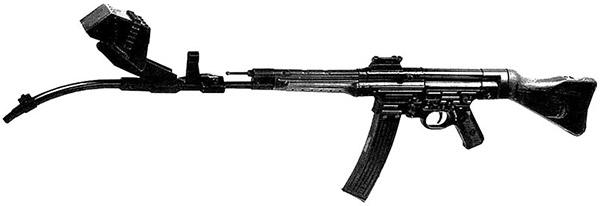 Автомат (штурмовая винтовка) MP44 Vorsatz J с искривленным на 30 град. стволом-насадкой с призматическим перископическим прицельным приспособлением конструкции фирмы Zeiss