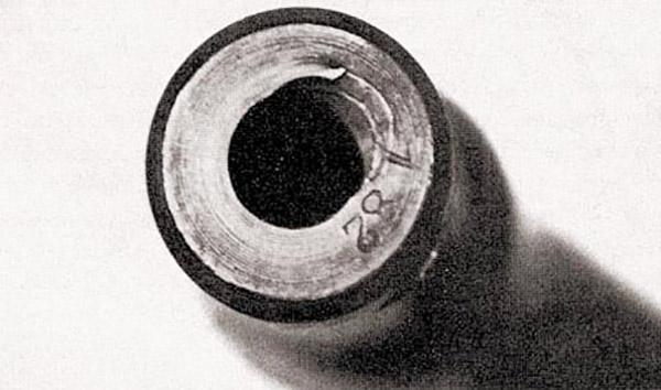 Деформация канала ствола в районе дульного среза автомата (штурмовой винтовки) MP44 с искривленным стволом-насадкой (после 150 выстрелов)