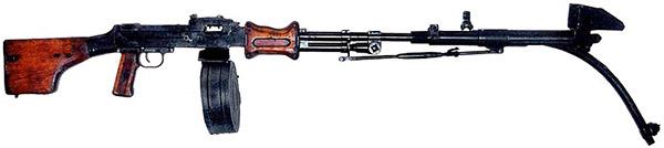 Искривленный на 45 град. ствол-насадка для ручного пулемета Дегтярева РПД. Опытный образец