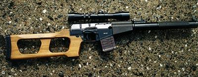 Снайперская винтовка ВСС со съемным деревянным прикладом рамочного типа