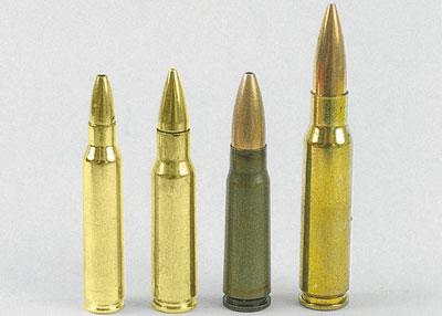 Заполняющий брешь (слева направо): .223 Remington, 6,8 мм Remington Special Purpose Cartridge, 7,62×39 и .308 Winchester.