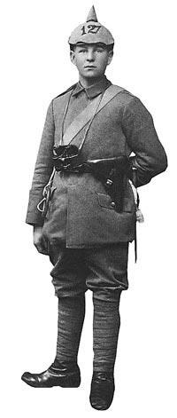 Германский унтер-офицер с пистолетом «Парабеллум» Р.08. 1917 год