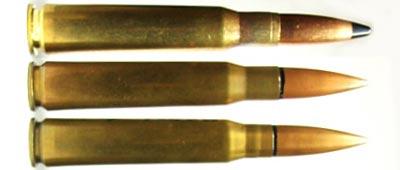12.7x99 (.50 BMG), 13.2x99 Hotchkiss, 13.2x96 Hotchkiss (сверху-вниз)