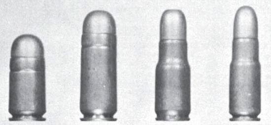 Слева - направо: .450 Mars Short (11.2x20 мм), .450 Mars Long (11.2x28), .360 Mars (9x26 мм), .330 Mars (8.5x26 мм)