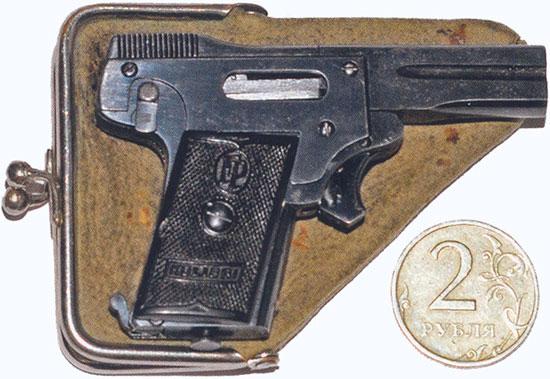 Kolibri с кобурой-кошельком рядом для сравнения размеров 2-х рублевая монета