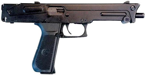 Пистолет-пулемет ПП-93 со сложенным сверху прикладом, вид справа. Такая конструкция позволяет легко скрыть его под одеждой
