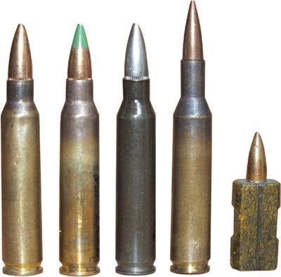 Малоимпульсные винтовочные патроны, принявшие участие в конкурсных испытаниях по выбору и стандартизации нового винтовочного патрона НАТО в 1977–1980-м годах (слева — направо): 5,56-мм американский винтовочный патрон М 193; 5,56-мм бельгийский винтовочный патрон SS 109; 5,56-мм французский винтовочный патрон М 193 со стальной гильзой; 4,85-мм английский винтовочный патрон ХL2 E1; 4,7-мм западногерманский безгильзовый патрон 4,7 мм х 21-0 Н