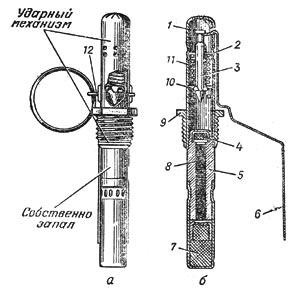 запал УЗРГМ:а - общий вид; б - в разрезе;1 - трубка ударного механизма; 2 - направляющая шайба; 3 - ударник; 4 - капсюль-воспламенитель; 5 - втулка замедлителя; 6 - спусковой рычаг; 7 - капсюль-детонатор; 8 - замедлитель; 9 - соединительная втулка; 10 - шайба ударника; 11 - боевая пружина; 12 - <a href='https://sanitarywork.ru/text/razdel-iii-vodosnabzhenie/84-vodorazbornaya-zapornaya-predohranitelnaya-i-reguliruyuschaya-armatura' target='_blank' rel='external'>предохранительная</a> чека.
