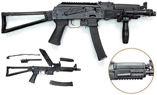 Пистолет-пулемет «Витязь-СН». Его отличительная особенность – наличие прицельной планки на 4 дистанции. Наличие планок «пикатинни» в исполнении Сб-20 позволяет крепить на них различное тактическое снаряжение