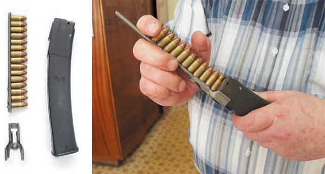Магазин «Витязя» можно снарядить из обойм. В комплект ПП входят четыре обоймы на 15 патронов и переходник