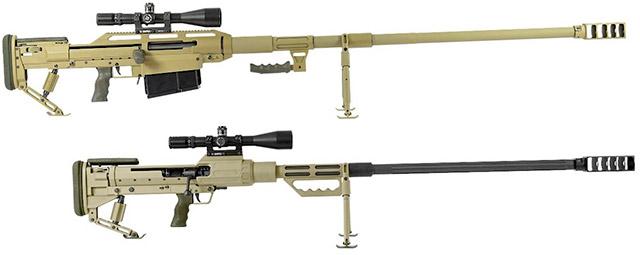 Магазинная 14,5-мм винтовка Snipex Alligator (сверху) и однозарядная 14,5-мм винтовка Snipex T-Rex (снизу)