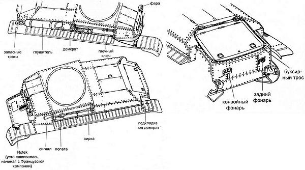 Размещение снаряжения, ЗИПа и наружного освещения на танке Pz.35(t).
