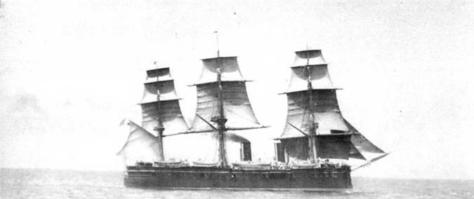 """Вверху и на обороте: """"Дмитрий Донской"""" в дальнем плавании. Конец 1880-х гг."""