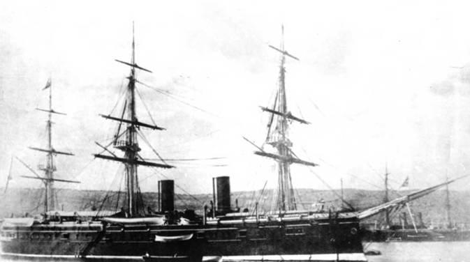 """""""Дмитрий Донской"""" в Нагасаки (два фото вверху) и на Мальте. Конец 1880-х гг."""