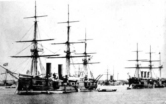 """""""Владимир Мономах"""" в Пирее (вверху) и в Порт-Саиде. Конец 1880-х — начало 1890-х гг."""