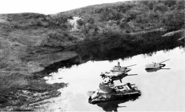 Те же танки у моста через Черногостицу.Обратите внимание, что уровень воды в реке значительно выше, чем на предыдущем фото на странице53. Видимо данная фотография была сделана вскоре после боев, когда из-за взорванной дамбы вода в Черногостице поднялась почти на 1,5 метра.