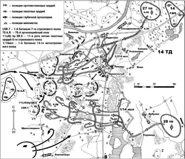 Схема боевых действий14-й танковой дивизии 7-го мехкорпуса на рекеЧерногостица 7июля 1941 года(схему выполнилПавел Шиткин).