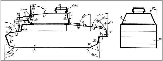 Схема бронирования среднего танка Pz.III.